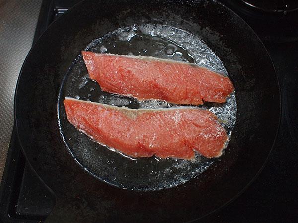 鮭を並べる